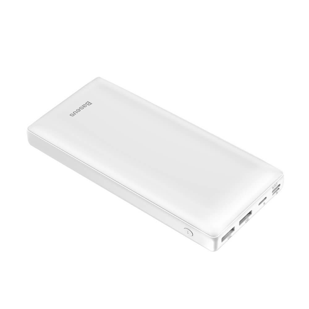 Baseus Mini JA Power Bank — външна батерия 30000 mAh с 2 x USB и USB-C изходи за зареждане на смартфони и таблети (бял) - 1
