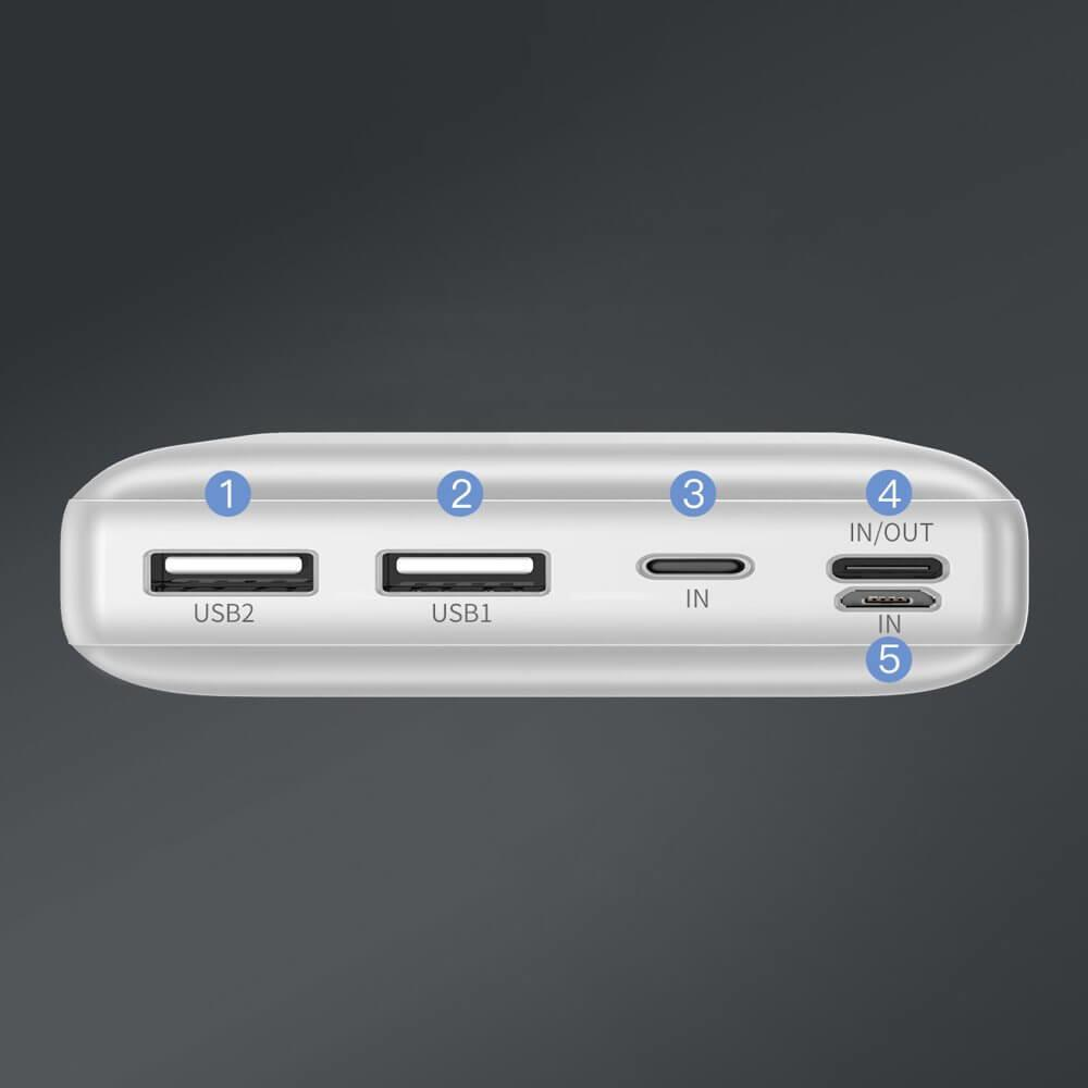 Baseus Mini JA Power Bank — външна батерия 30000 mAh с 2 x USB и USB-C изходи за зареждане на смартфони и таблети (бял) - 2
