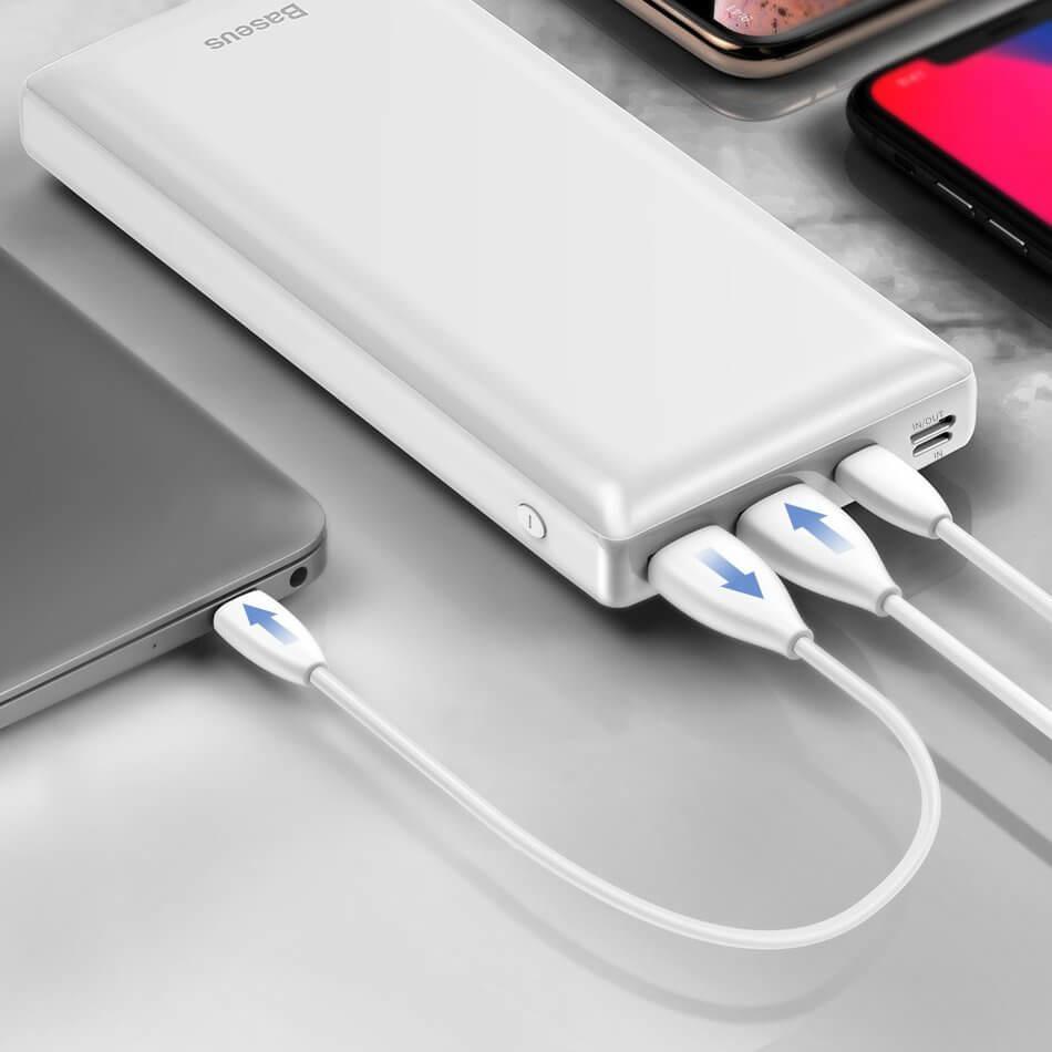 Baseus Mini JA Power Bank — външна батерия 30000 mAh с 2 x USB и USB-C изходи за зареждане на смартфони и таблети (бял) - 5
