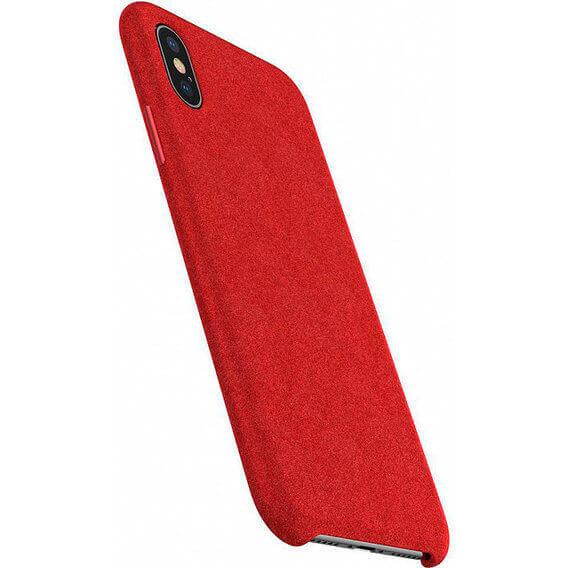 Baseus Original Super Fiber Case — велурен кейс за iPhone XS, iPhone X (червен) - 2