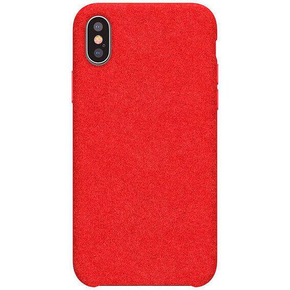 Baseus Original Super Fiber Case — велурен кейс за iPhone XS, iPhone X (червен) - 4
