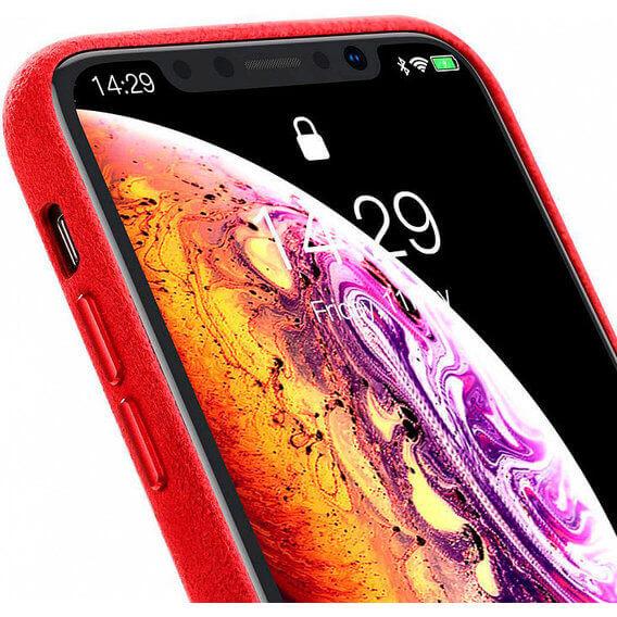 Baseus Original Super Fiber Case — велурен кейс за iPhone XS, iPhone X (червен) - 3