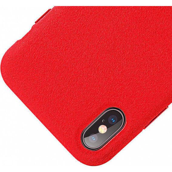 Baseus Original Super Fiber Case — велурен кейс за iPhone XS, iPhone X (червен) - 5