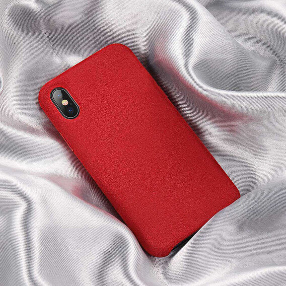 Baseus Original Super Fiber Case — велурен кейс за iPhone XS Max (червен) - 4