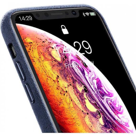 Baseus Original Super Fiber Case — велурен кейс за iPhone XS Max (син) - 3
