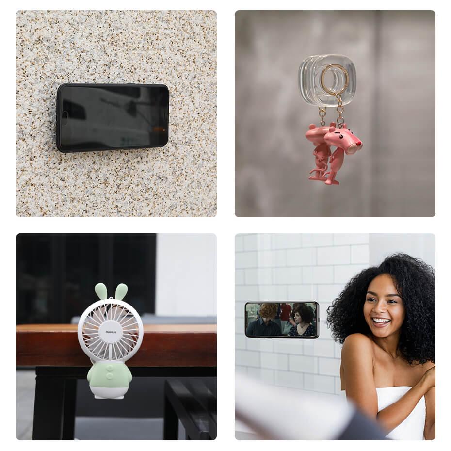 Baseus Universal Gel Pad Smartphone Mount Holder & Cable Organiser — лепяща се силиконова поставка за гладки повърхности за мобилни телефони (черен) - 5