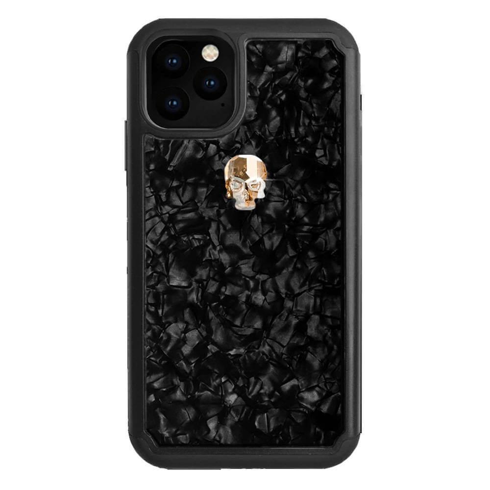 Bling My Thing Treasure Gold Skull Nacre Swarovski — хибриден удароустойчив кейс с кристали Cваровски за iPhone 11 Pro (черен) - 1