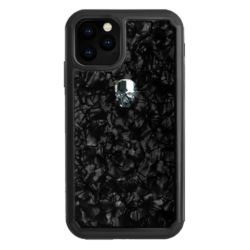 Bling My Thing Treasure Silver Skull Nacre Swarovski — хибриден удароустойчив кейс с кристали Cваровски за iPhone 11 Pro (черен) - 1