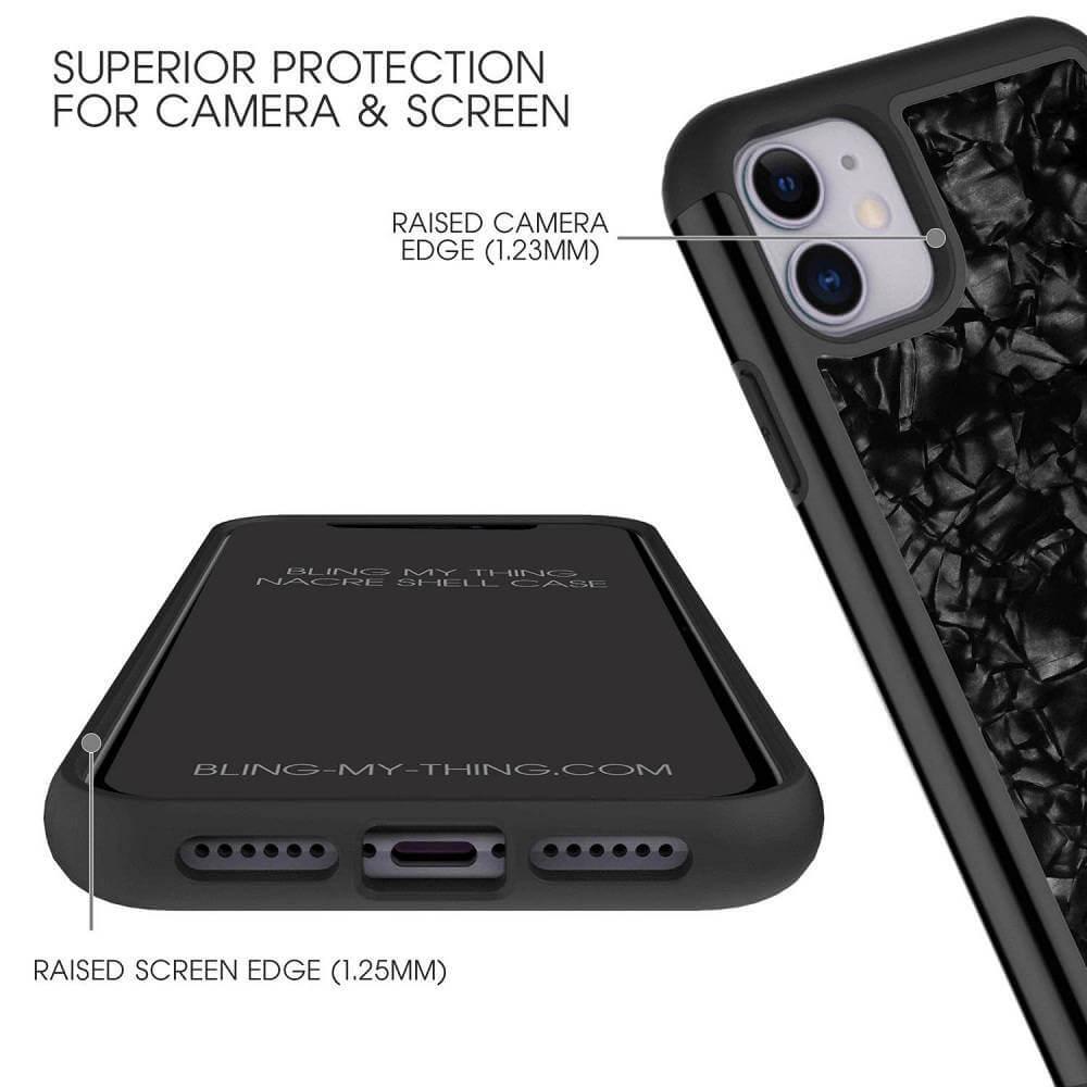 Bling My Thing Treasure Silver Skull Nacre Swarovski — хибриден удароустойчив кейс с кристали Cваровски за iPhone 11 Pro Max (черен) - 2