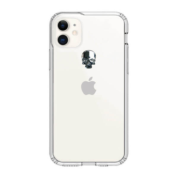 Bling My Thing Treasure Silver Skull Swarovski — хибриден удароустойчив кейс с кристали Сваровски за iPhone 11 (прозрачен) - 1