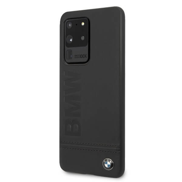 BMW Signature Genuine Leather Soft Case — кожен кейс (естествена кожа) за Samsung Galaxy S20 Ultra (черен) - 3
