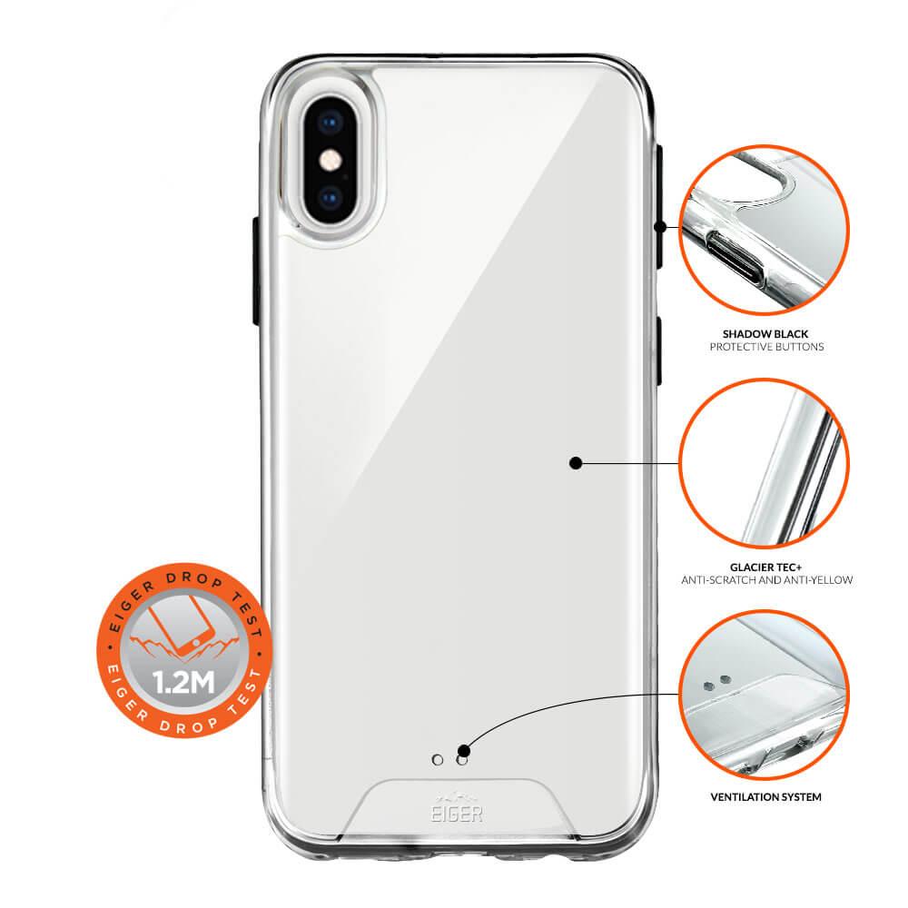 Eiger Glacier Case — удароустойчив хибриден кейс за iPhone XS Max (прозрачен) - 3