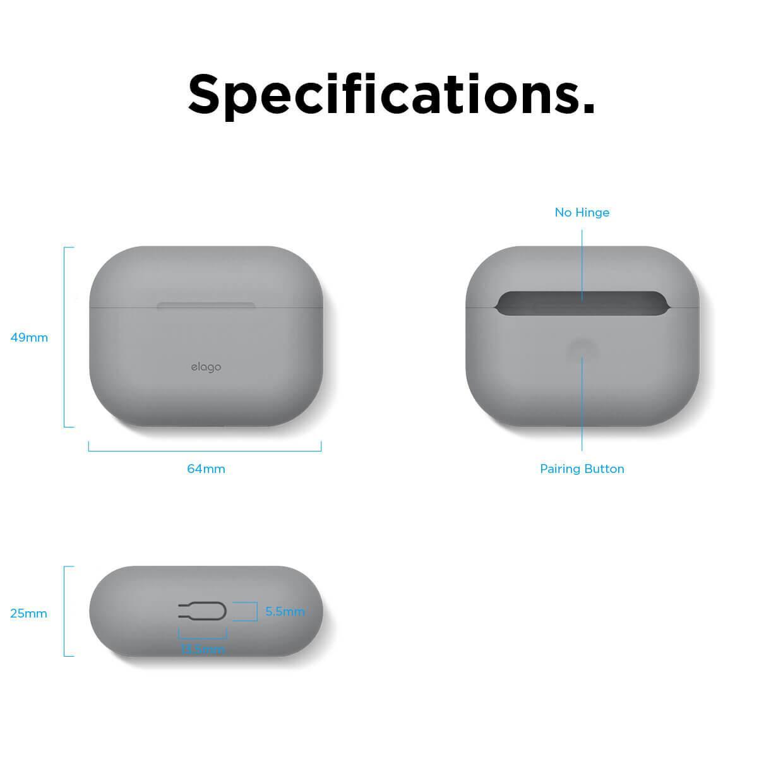 Elago Airpods Original Basic Silicone Case — силиконов калъф за Apple Airpods Pro (светлосив) - 5