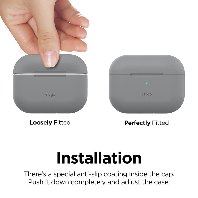 Elago Airpods Original Basic Silicone Case — силиконов калъф за Apple Airpods Pro (светлосив) - 3