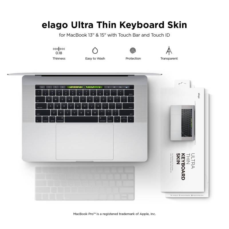Elago Keyboard Skin — силиконов протектор за клавиатурата на MacBook Pro with Touch Bar (прозрачен-мат) - 2