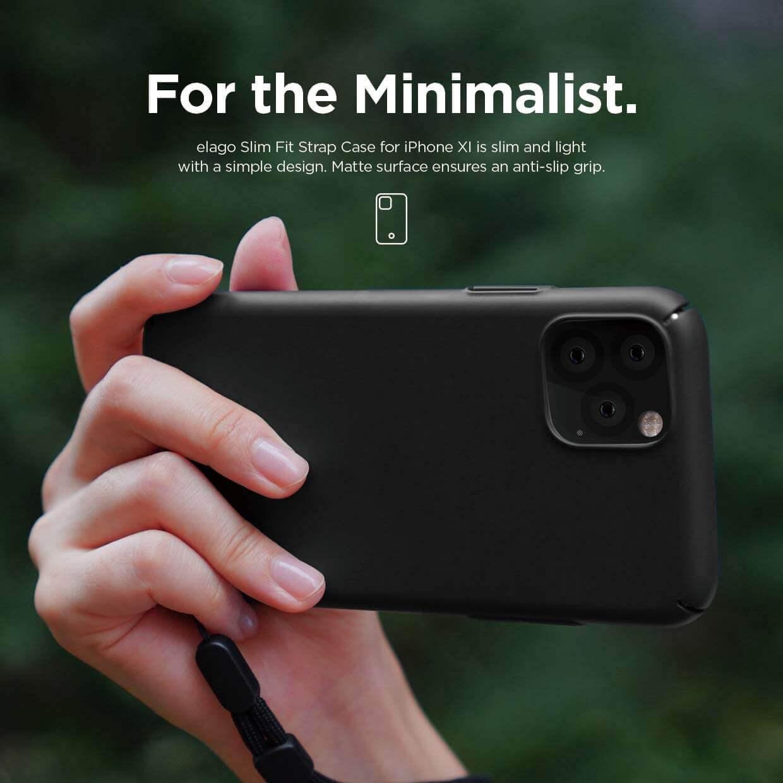 Elago Slim Fit Strap Case — качествен поликарбонатов кейс с каишка за китката за iPhone 11 (черен) - 2
