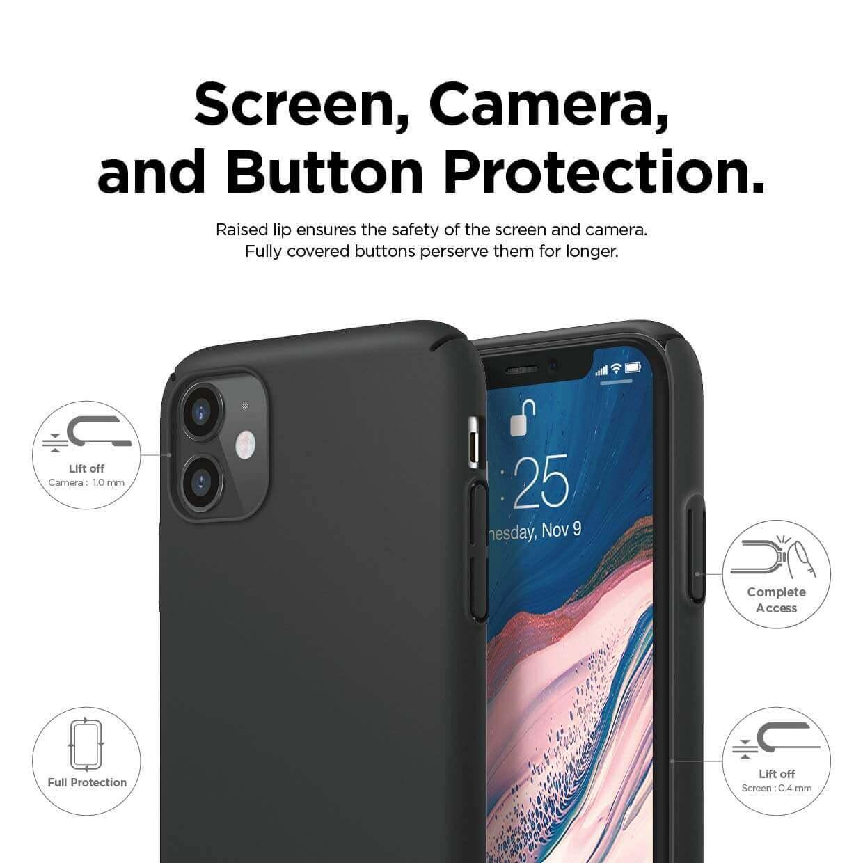 Elago Slim Fit Strap Case — качествен поликарбонатов кейс с каишка за китката за iPhone 11 (черен) - 5