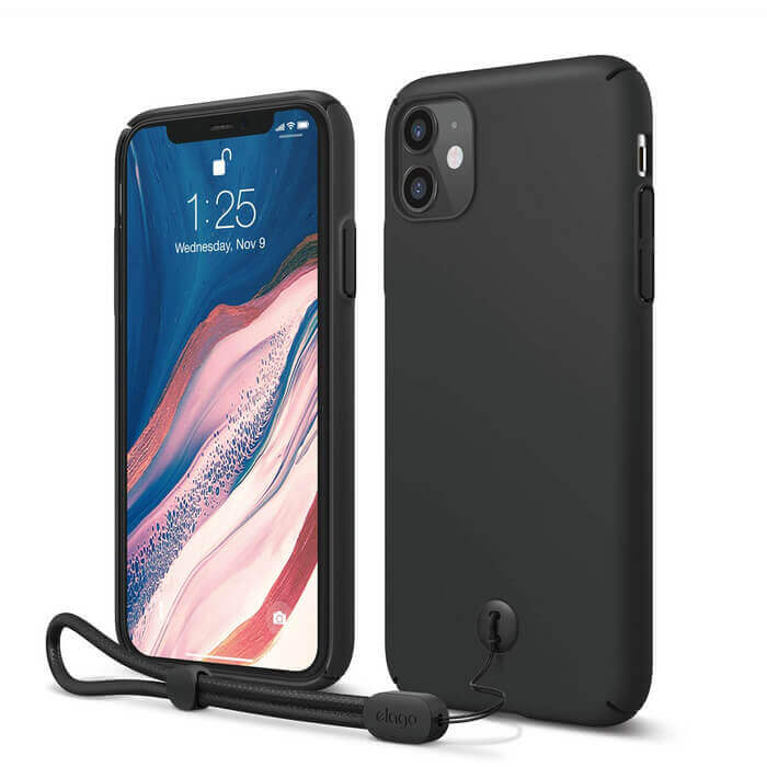 Elago Slim Fit Strap Case — качествен поликарбонатов кейс с каишка за китката за iPhone 11 (черен) - 1