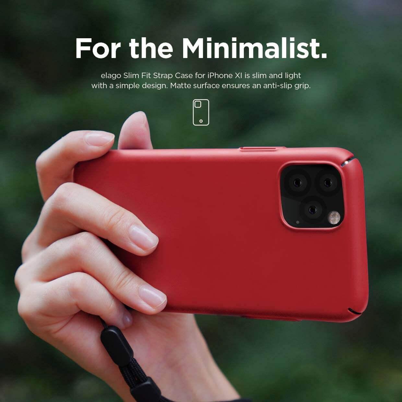 Elago Slim Fit Strap Case — качествен поликарбонатов кейс с каишка за китката за iPhone 11 (червен) - 2