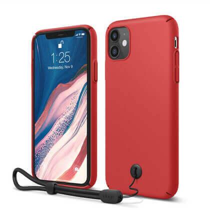 Elago Slim Fit Strap Case — качествен поликарбонатов кейс с каишка за китката за iPhone 11 (червен) - 1