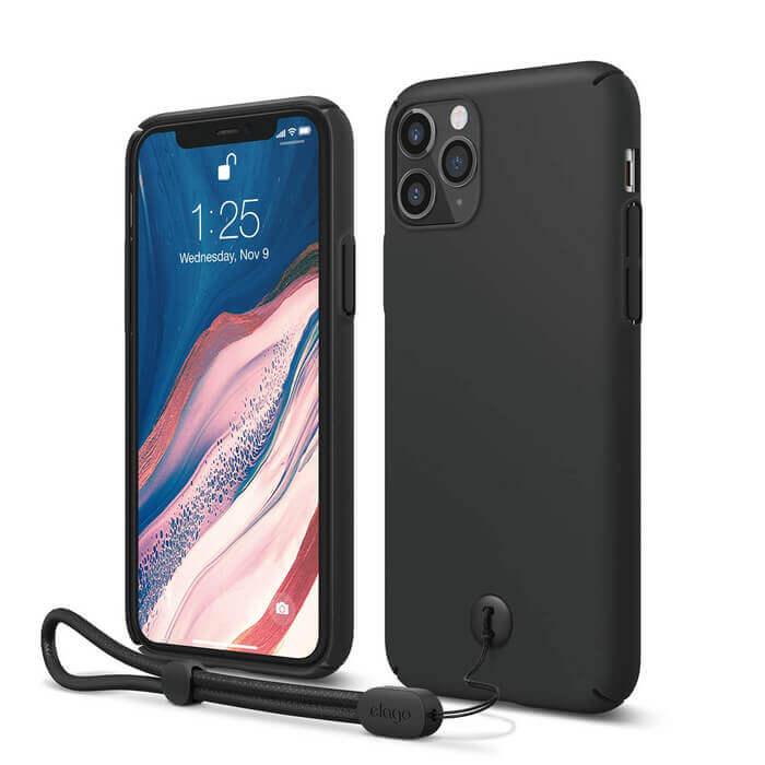 Elago Slim Fit Strap Case — качествен поликарбонатов кейс с каишка за китката за iPhone 11 Pro (черен) - 1