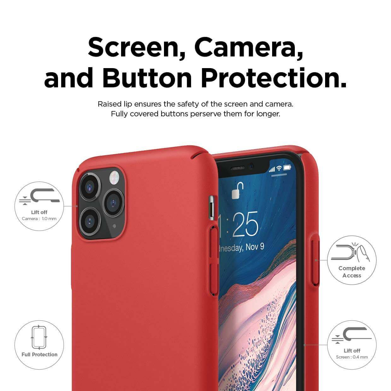 Elago Slim Fit Strap Case — качествен поликарбонатов кейс с каишка за китката за iPhone 11 Pro (червен) - 3