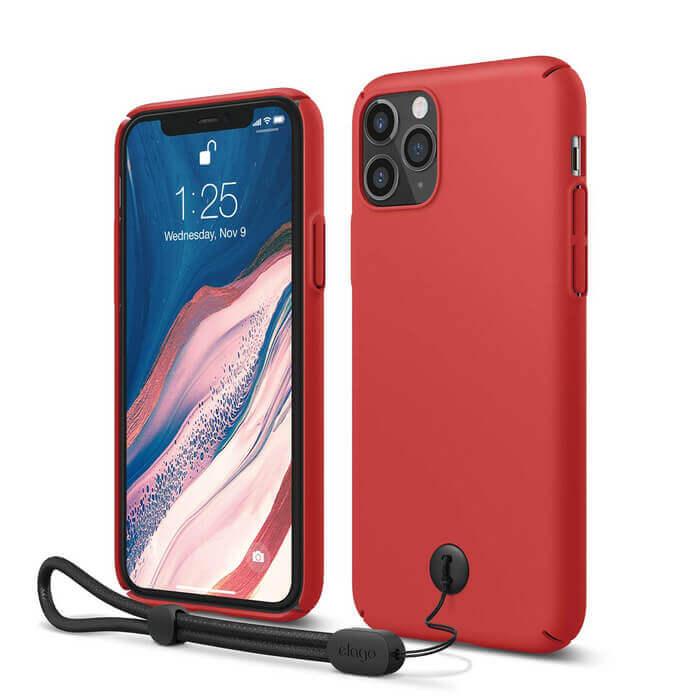 Elago Slim Fit Strap Case — качествен поликарбонатов кейс с каишка за китката за iPhone 11 Pro (червен) - 1