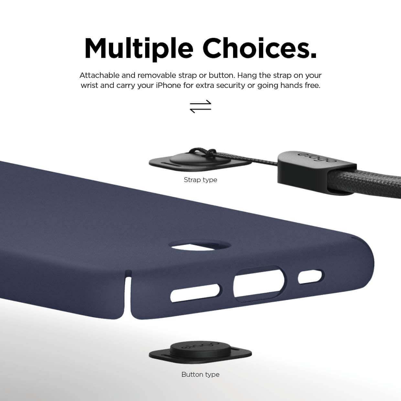 Elago Slim Fit Strap Case — качествен поликарбонатов кейс с каишка за китката за iPhone 11 Pro Max (тъмносин) - 3