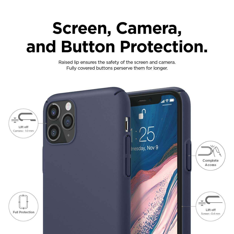 Elago Slim Fit Strap Case — качествен поликарбонатов кейс с каишка за китката за iPhone 11 Pro Max (тъмносин) - 5