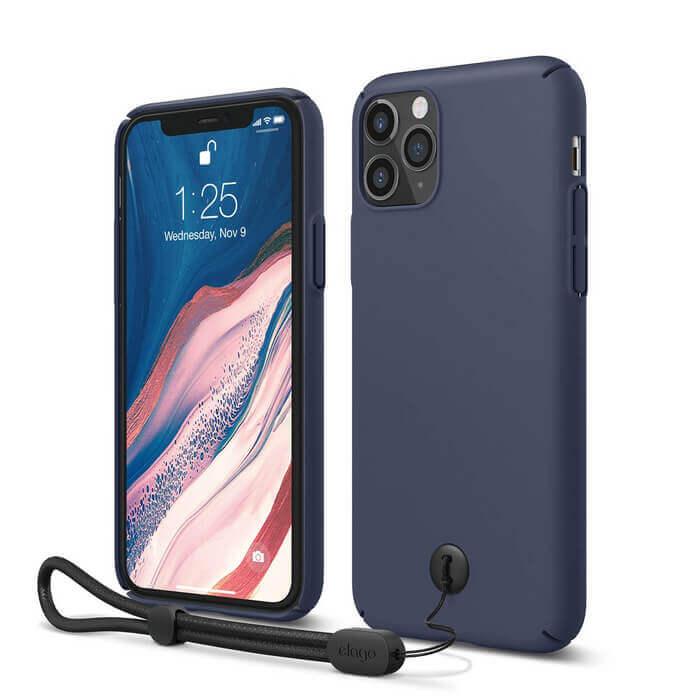 Elago Slim Fit Strap Case — качествен поликарбонатов кейс с каишка за китката за iPhone 11 Pro (тъмносин) - 1