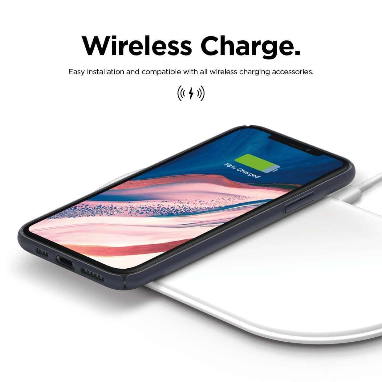 Elago Slim Fit Strap Case — качествен поликарбонатов кейс с каишка за китката за iPhone 11 (тъмносин) - 5
