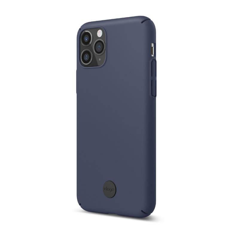 Elago Slim Fit Strap Case — качествен поликарбонатов кейс с каишка за китката за iPhone 11 (тъмносин) - 4