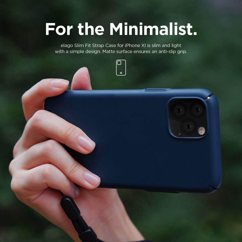 Elago Slim Fit Strap Case — качествен поликарбонатов кейс с каишка за китката за iPhone 11 (тъмносин) - 3
