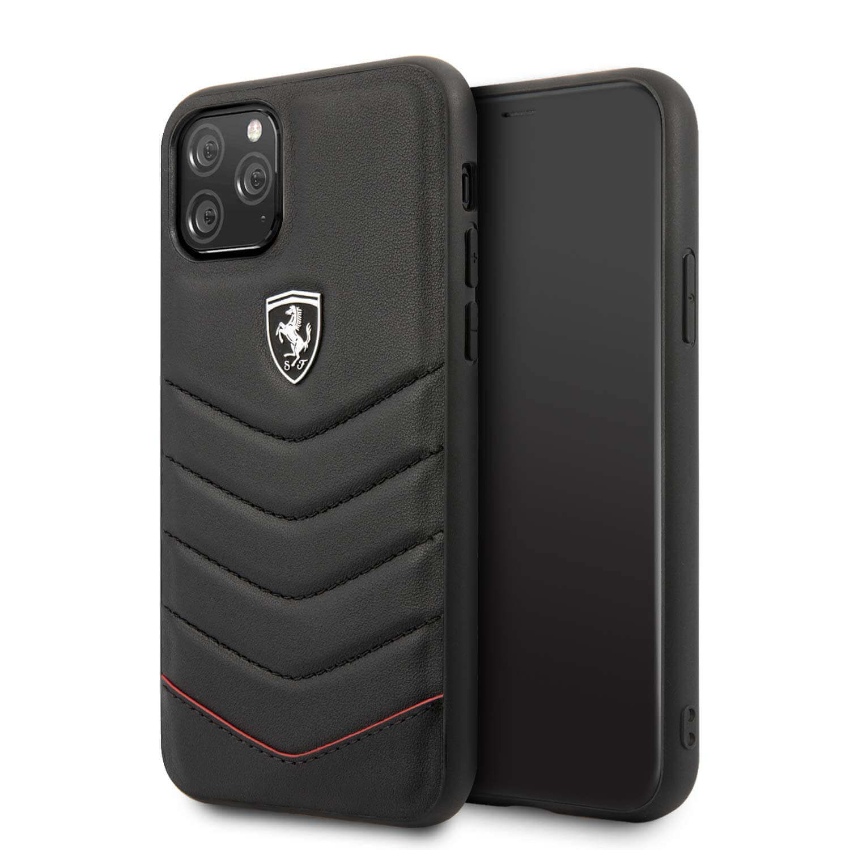 Ferrari Heritage Quilted Leather Hard Case — кожен кейс (естествена кожа) за iPhone 11 Pro Max (черен) - 1