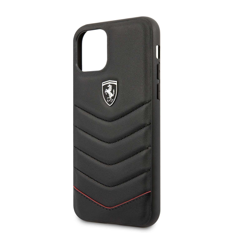 Ferrari Heritage Quilted Leather Hard Case — кожен кейс (естествена кожа) за iPhone 11 Pro Max (черен) - 5