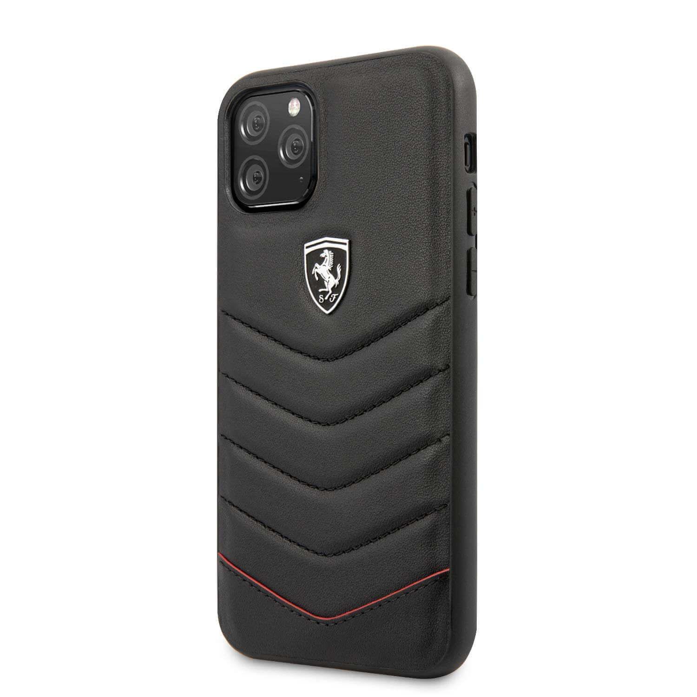 Ferrari Heritage Quilted Leather Hard Case — кожен кейс (естествена кожа) за iPhone 11 Pro Max (черен) - 4