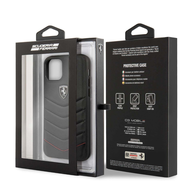 Ferrari Heritage Quilted Leather Hard Case — кожен кейс (естествена кожа) за iPhone 11 Pro Max (черен) - 3