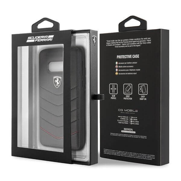 Ferrari Heritage Quilted Leather Hard Case — кожен кейс (естествена кожа) за Samsung Galaxy S10e (черен) - 5