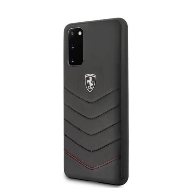 Ferrari Heritage Quilted Leather Hard Case — кожен кейс (естествена кожа) за Samsung Galaxy S20 (черен) - 2