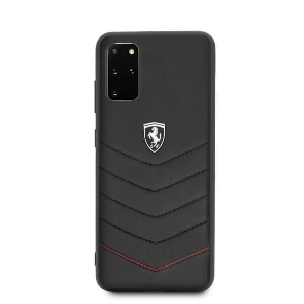 Ferrari Heritage Quilted Leather Hard Case — кожен кейс (естествена кожа) за Samsung Galaxy S20 Plus (черен) - 3