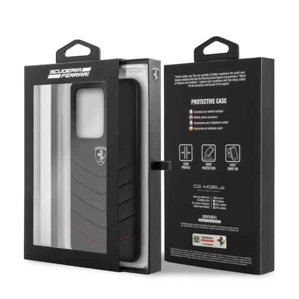 Ferrari Heritage Quilted Leather Hard Case — кожен кейс (естествена кожа) за Samsung Galaxy S20 Ultra (черен) - 2