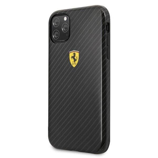 Ferrari On Track Carbon Effect Hard Case — поликарбонатов кейс с карбоново покритие за iPhone 11 (черен) - 2