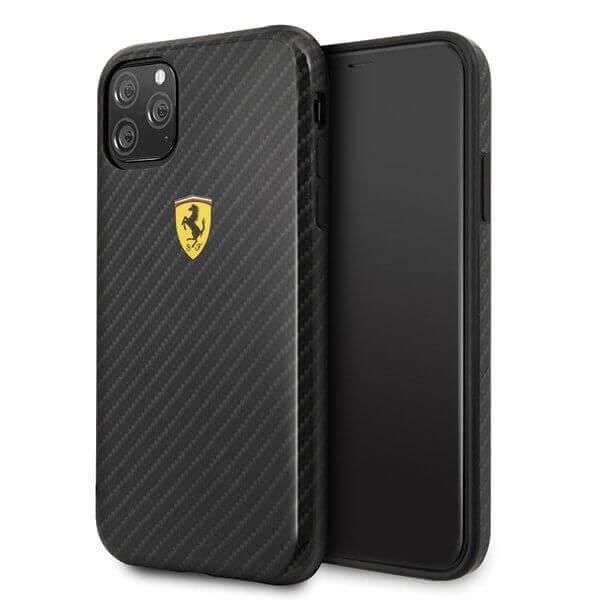 Ferrari On Track Carbon Effect Hard Case — поликарбонатов кейс с карбоново покритие за iPhone 11 (черен) - 1