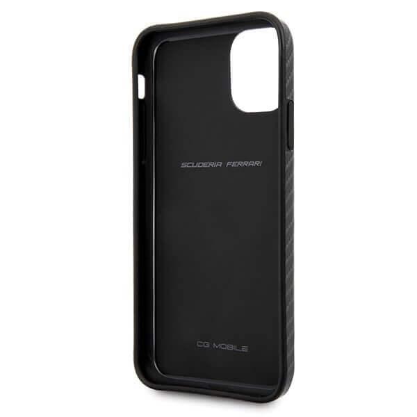 Ferrari On Track Carbon Effect Hard Case — поликарбонатов кейс с карбоново покритие за iPhone 11 (черен) - 3