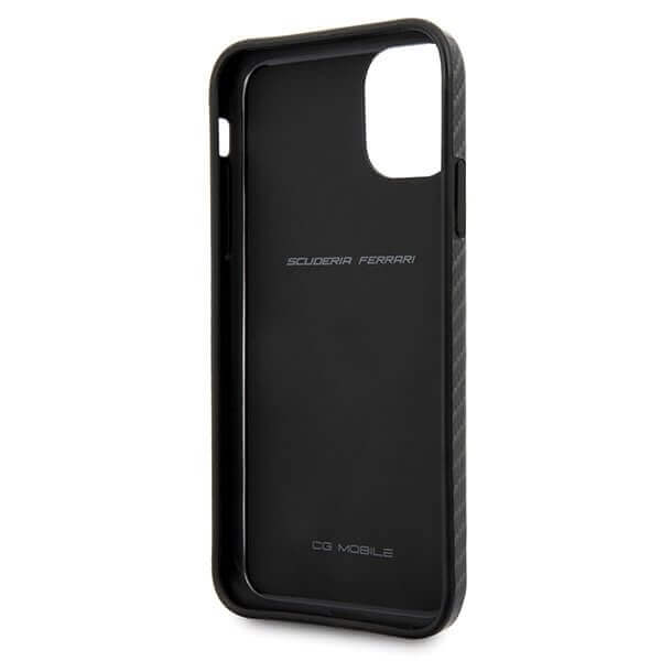 Ferrari On Track Carbon Effect Hard Case — поликарбонатов кейс с карбоново покритие за iPhone 11 Pro Max (черен) - 3