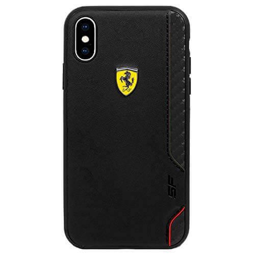 Ferrari On Track Grid Hard Case — кожен кейс (естествена кожа) за iPhone XS Max (черен) - 2