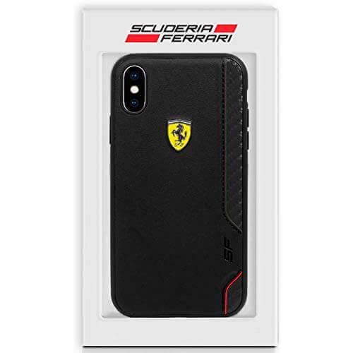 Ferrari On Track Grid Hard Case — кожен кейс (естествена кожа) за iPhone XS Max (черен) - 3