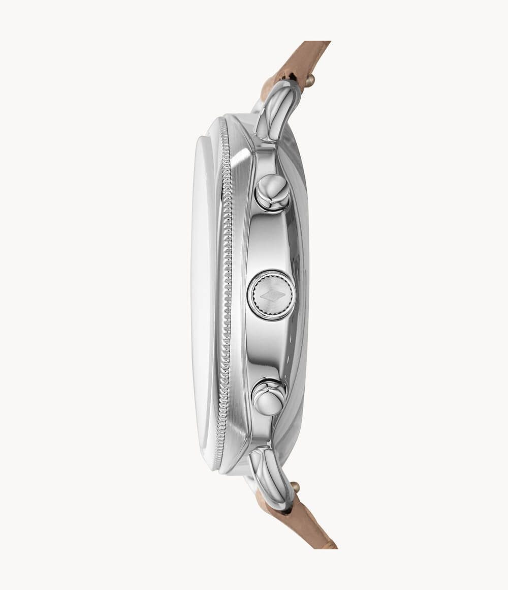 Fossil Hybrid Smartwatch Accomplice Sand FTW1200- луксозен хибриден умен часовник с кожена каишка (сребрист) - 3