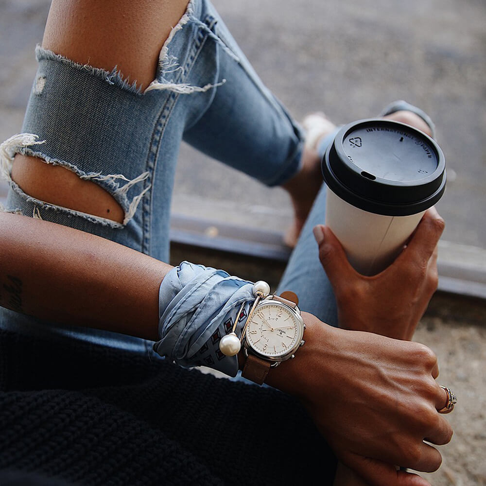 Fossil Hybrid Smartwatch Accomplice Sand FTW1200- луксозен хибриден умен часовник с кожена каишка (сребрист) - 5