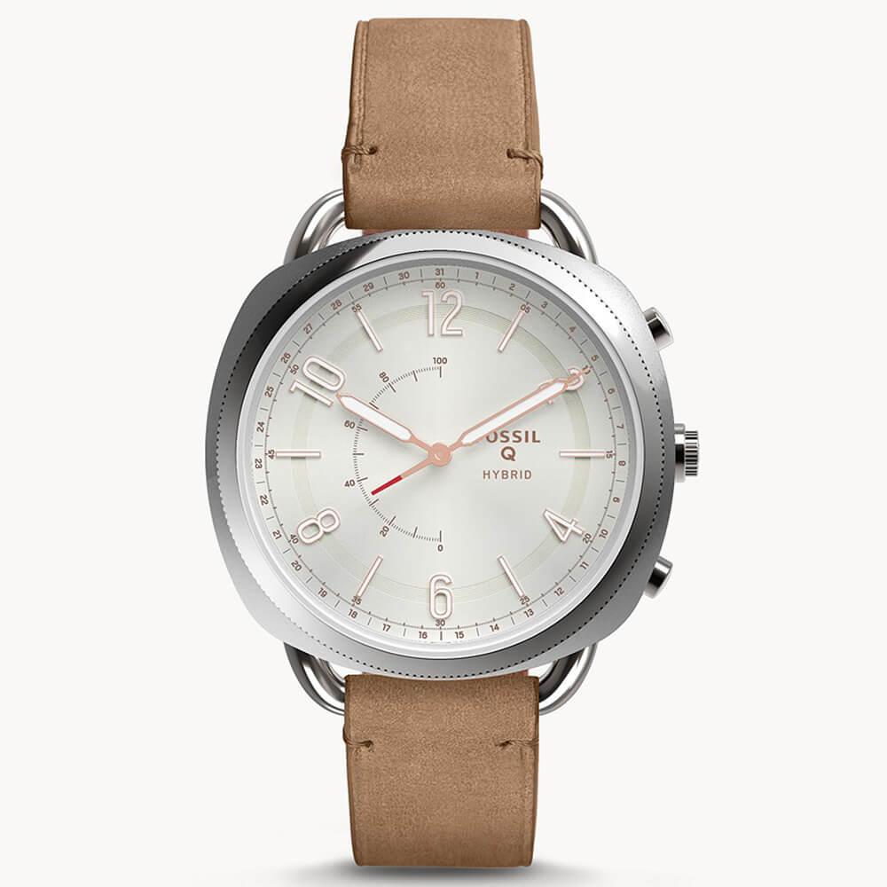 Fossil Hybrid Smartwatch Accomplice Sand FTW1200- луксозен хибриден умен часовник с кожена каишка (сребрист) - 1